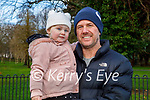 Little Zoe Mae Morrissey with her dad Mark, enjoying the playground in the Tralee town park on Thursday.