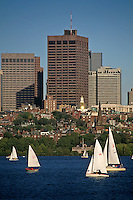 Massachusetts, Boston; Collegiate Sailing On Charles River; Back Bay & Boston Skyline In Backgroun