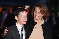 """Lewis MacDougall and Sigourney Weaver<br /> at the London Film Festival premiere for """"A Monster Calls"""" at the Odeon Leicester Square, London.<br /> <br /> <br /> ©Ash Knotek  D3162  06/10/2016"""