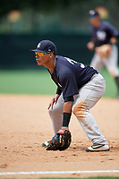 GCL Yankees West first baseman Jesus Graterol (31) during the second game of a doubleheader against the GCL Braves on July 30, 2018 at Champion Stadium in Kissimmee, Florida.  GCL Braves defeated GCL Yankees West 5-4.  (Mike Janes/Four Seam Images)