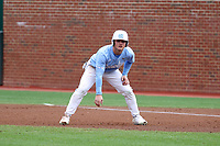CHAPEL HILL, NC - FEBRUARY 19: Dylan Harris #3 of the University of North Carolina takes a lead off of first base during a game between High Point and North Carolina at Boshamer Stadium on February 19, 2020 in Chapel Hill, North Carolina.