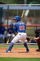 GCL Mets Kenedy Corona (22) at bat during a Gulf Coast League game against the GCL Marlins on August 11, 2019 at St. Lucie Sports Complex in St. Lucie, Florida.  GCL Marlins defeated the GCL Mets 3-2 in the second game of a doubleheader.  (Mike Janes/Four Seam Images)