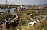 Swanscombe Peninsula North Kent Borough of Dartford UK. 1990s. Broadness Creek. Dartford Bridge in distance.