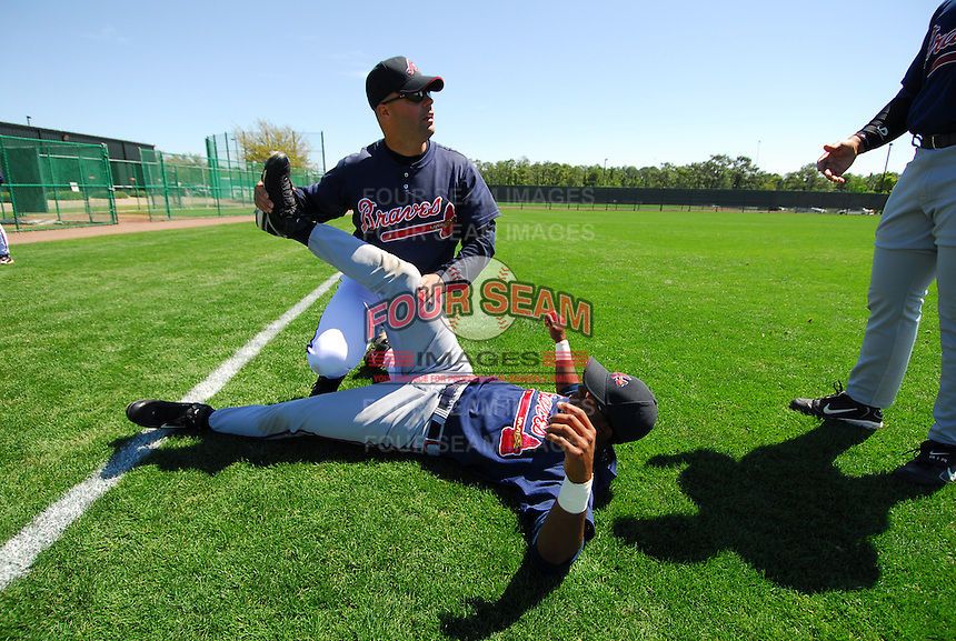 March 17, 2007: Atlanta Braves strength and conditioning coach Phil Falco works with a player during Spring Training in 2007. Falco, a roving instructor with the Braves organization at that time, was named strength and conditioning coach for the Atlanta parent club in June 2008.