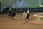 LOUISVILLE, KY - APRIL 25: Lani (grey horse, right Tapit x Heavenly Romance, by Sunday Silence) gallops on the track at  Churchill Downs, Louisville KY while Carina Mia (yellow cap, far left) and workmate Black Eagle approach from behind, breezing. Owner Ms. Yoko Maeda, trainer Mikio Matsunaga. (Photo by Mary M. Meek/Eclipse Sportswire/Getty Images)