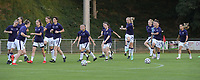 players of Anderlecht pictured during the warming up of a female soccer game between RSC Anderlecht Dames and AA Gent Ladies  on the fourth matchday of the 2021 - 2022 season of Belgian Womens Super League , friday 10 th of September 2021 in Overijse , Belgium . PHOTO SPORTPIX | DIRK VUYLSTEKE