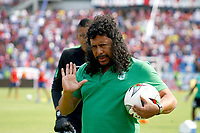 SANTA MARTA- COLOMBIA, 24-02-2019: Rene Higuita ,preparador de arqueros del Atlético Nacional.Acción de juego entre los equipos Unión Magdalena y El Atlético Nacional  durante partido por fecha 6 de la Liga Águila I 2019 jugado en el estadio Sierra Nevada de la ciudad de Santa Marta. /Rene Higuita, coach of goalkeepers at Atlético Nacional. Action game between Union Magdalena and Atletico Nacional teams during match for the date 6 as part of the  Aguila League  I 2019 played at the Sierra Nevada Stadium in Santa Marta  city. Photo: VizzorImage /Gustavo Pacheco / Contribuidor
