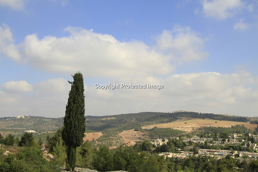Israel, Jerusalem mountains, a view from the Castel National Park, site of the Crusader Castellum Belveern fortress