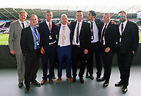 Letou CEO Paul Fox (C) with friends and colleagues during the English Premier League soccer match between Swansea City and Manchester United at Liberty Stadium, Swansea, Wales, UK. Saturday 18 August 2017