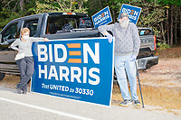 A small group of Biden supporters gathered by the roadside to protest before Donald Trump, Jr., son of president Donald Trump and a rising Republican political star, speaks at an outdoor campaign rally at The Lobster Trap in North Conway, New Hampshire, on Thu., Sept. 24, 2020.