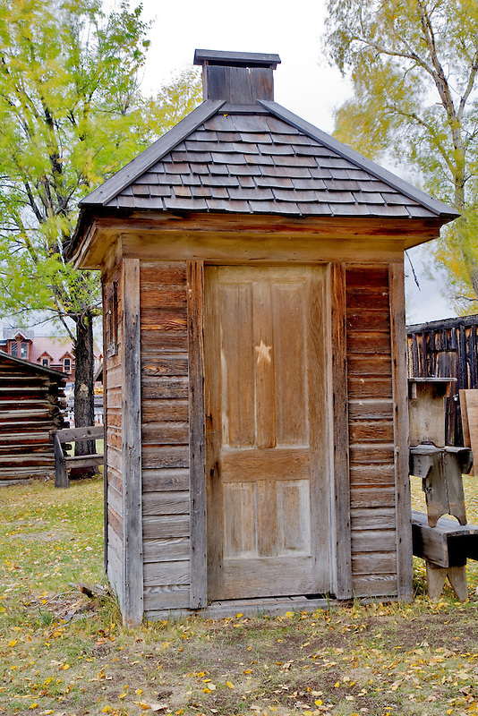 Outhouse with star on door. Nevada City, Montana