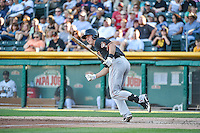 Matt Duffy (17) of the Fresno Grizzlies at bat against the Salt Lake Bees in Pacific Coast League action at Smith's Ballpark on June 13, 2015 in Salt Lake City, Utah.  (Stephen Smith/Four Seam Images)