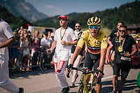 Greg Van Avermaet (BEL/BMC) surprisingly still in yellow and even extending his lead in the GC standings (at the finish)<br /> <br /> Stage 10: Annecy > Le Grand-Bornand (159km)<br /> <br /> 105th Tour de France 2018<br /> ©kramon