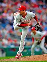 13 April 2009: Philadelphia Phillies' pitcher Brad Lidge on the mound during the Washington Nationals' Home Opener at Nationals Park in Washington, DC. The Nats fell short in their 9th inning rally, losing 9-8, as the visiting Phillies handed the Nats their 7th consecutive loss of the 2009 season. Mandatory Credit: Ed Wolfstein Photo