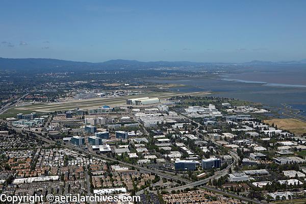 aerial photograph Mountain View and Sunnyvale toward San Francisco, Silicon Valley, California