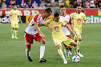 Harrison, NJ - Wednesday July 06, 2016: Tyler Adams, Rubens Sambueza, Florian Valot during a friendly match between the New York Red Bulls and Club America at Red Bull Arena.