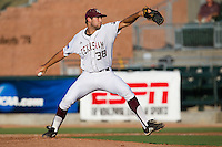 Texas A&M Aggie pitcher Michael Wacha #38 delivers a pitch during the NCAA Tournament Regional baseball game against the Dayton Flyers on June 1, 2012 at Blue Bell Park in College Station, Texas. The Aggies defeated the Flyers 4-1. (Andrew Woolley/Four Seam Images).