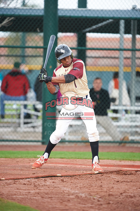 Xavier Edwards (1) of North Broward Prep High School in Wellington, Florida during the Under Armour All-American Pre-Season Tournament presented by Baseball Factory on January 15, 2017 at Sloan Park in Mesa, Arizona.  (Art Foxall/MJP/Four Seam Images)