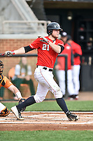Georgia Bulldogs designated hitter Jared Walsh (21) swings at a pitch during a game against the Tennessee Volunteers at Lindsey Nelson Stadium March 21, 2015 in Knoxville, Tennessee. The Bulldogs defeated the Volunteers 12-7. (Tony Farlow/Four Seam Images)