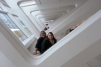 "Two of my favorite girls peeking at me through the ""colonnade"" at the Milwaukee Art Museum."