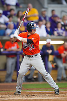 Auburn Tigers catcher Blake Austin #34 at bat against the LSU Tigers in the NCAA baseball game on March 23, 2013 at Alex Box Stadium in Baton Rouge, Louisiana. LSU defeated Auburn 5-1. (Andrew Woolley/Four Seam Images).