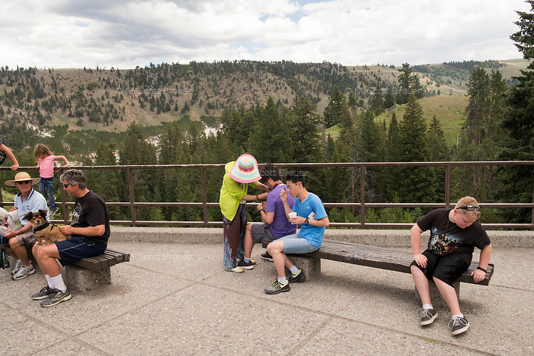 People gather near the souvenir store in the Tower Fall section of Yellowstone National Park, Wyoming, USA.