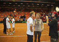 14-sept.-2013,Netherlands, Groningen,  Martini Plaza, Tennis, DavisCup Netherlands-Austria, Doubles,   Dutch winning doubles Sport 1 Kristy Boogert interviews captain Jan Siemerink<br /> Photo: Henk Koster