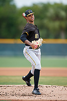 Pittsburgh Pirates pitcher Oddy Nunez (81) during a Minor League Spring Training Intrasquad game on March 31, 2018 at Pirate City in Bradenton, Florida.  (Mike Janes/Four Seam Images)