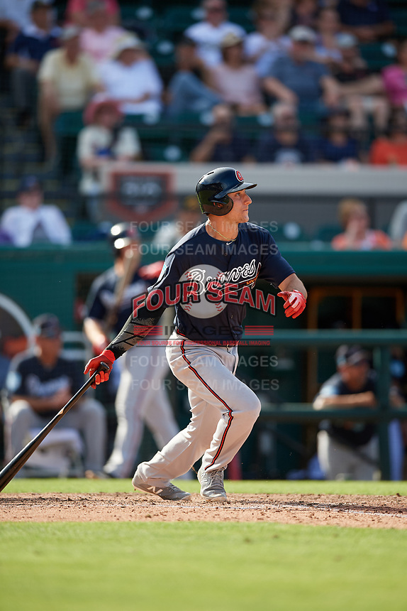 Atlanta Braves shortstop AJ Graffanino (95) follows through on a swing during a Grapefruit League Spring Training game against the Detroit Tigers on March 2, 2019 at Publix Field at Joker Marchant Stadium in Lakeland, Florida.  Tigers defeated the Braves 7-4.  (Mike Janes/Four Seam Images)