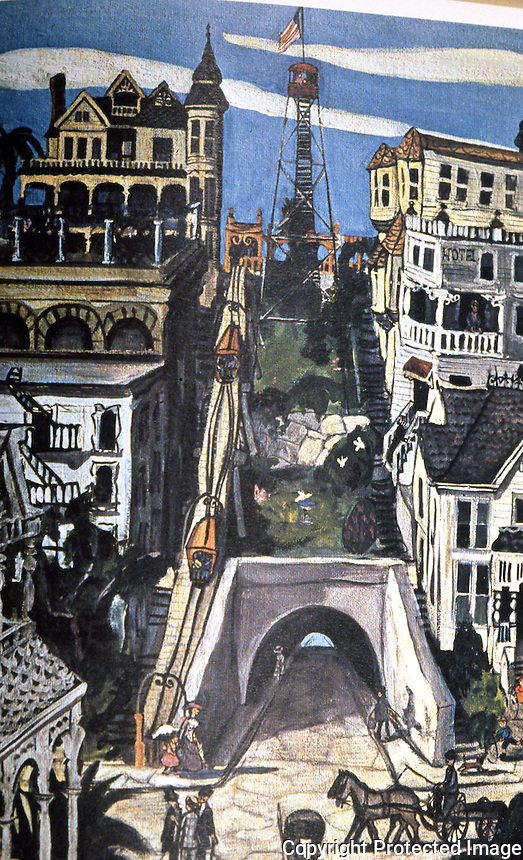 """Los Angeles: Angel's Flight, 1901, as seen in 1902, """"as imagined"""". By Leo Polito, Bunker Hill, 1964."""