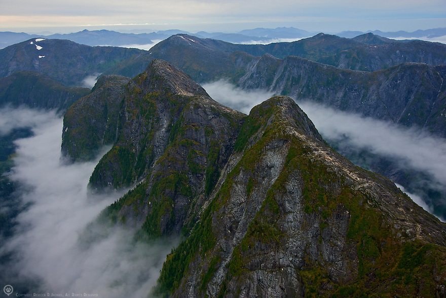 Aerial view of the mountains of Prince Rupert Island, Canada