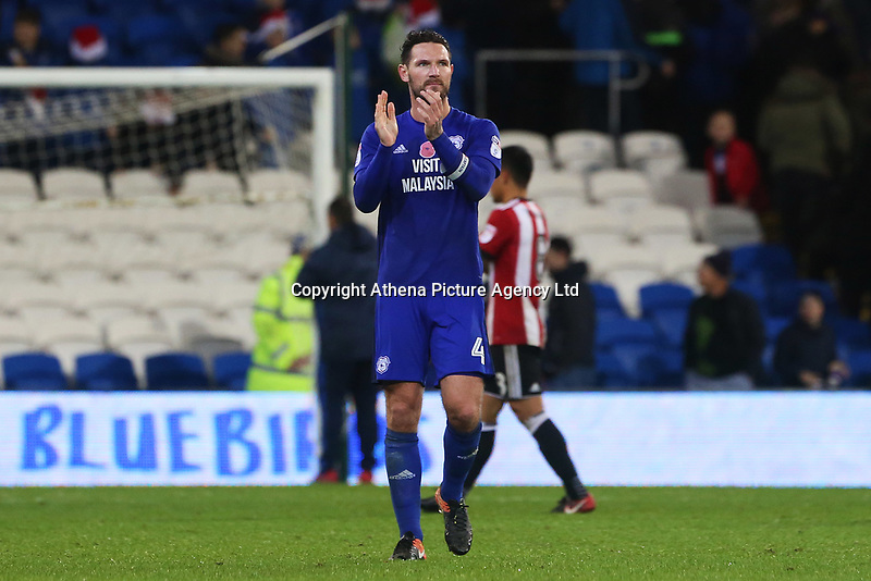 Sean Morrison of Cardiff City after the final whistle of the Sky Bet Championship match between Cardiff City and Brentford at the Cardiff City Stadium, Wales, UK. Saturday 18 November 2017