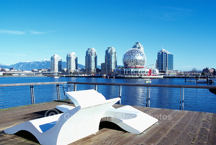 Vancouver Skyline, BC, British Columbia, Canada - Telus World of Science (aka Science World), and Residential High Rise Condominium Buildings at False Creek - Renovation at Science World completed in 2012