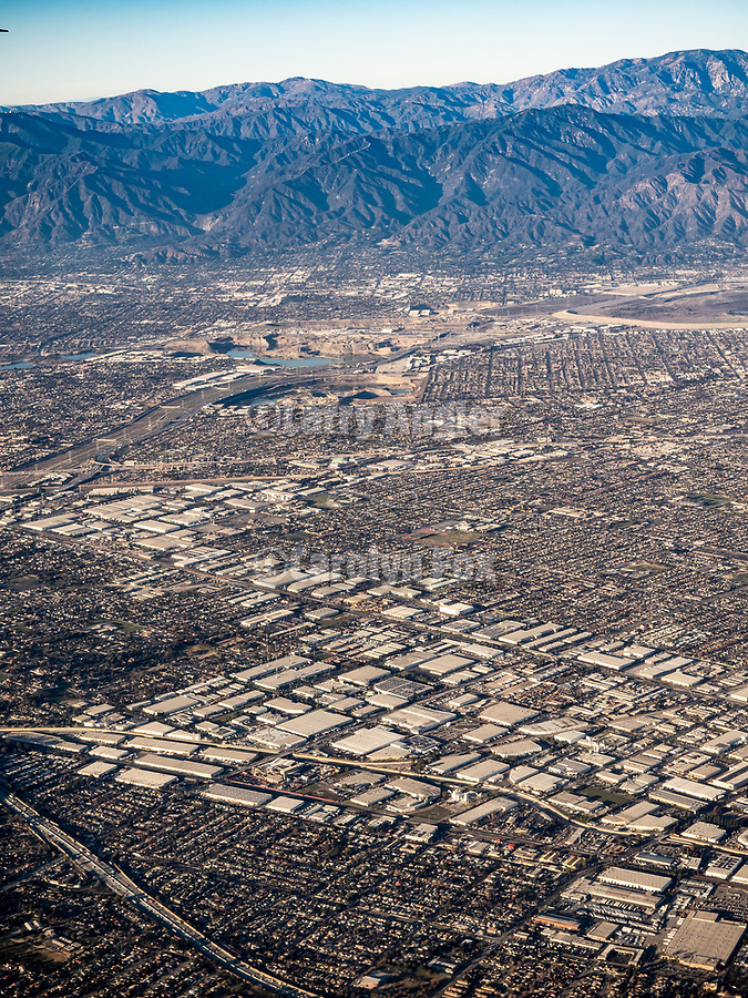 West Covina, California, from a window seat on a United Airlines flight from Chicago to Los Angeles over America's Flyover County.