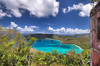 View of Maho and Francis Bay<br /> From America Hill Ruins.<br /> Virgin Islansd National Park.<br /> St. John.<br /> U.S. Virgin Islands