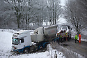17/01/16<br /> <br /> A lorry slides off the A515 near Ashbourne in the Derbyshire Peak District near Ashbourne after overnight snowfall.<br /> <br /> All Rights Reserved: F Stop Press Ltd. +44(0)1335 418365   +44 (0)7765 242650 www.fstoppress.com
