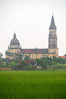 A massive and impressive Catholic Church and surrounding Rice fields in Vu Thu District, Thai Binh province, Vietnam