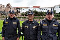 Peru, Cusco.  Peru's Policia Nacional, Numerous in Cusco this Day because of a Scheduled Political Demonstration.