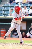 April 11, 2010:  Second Baseman Michael Martinez of the Harrisburg Senators during a game at Blair County Ballpark in Altoona, PA.  Harrisburg is the Double-A Eastern League affiliate of the Washington Nationals.  Photo By Mike Janes/Four Seam Images