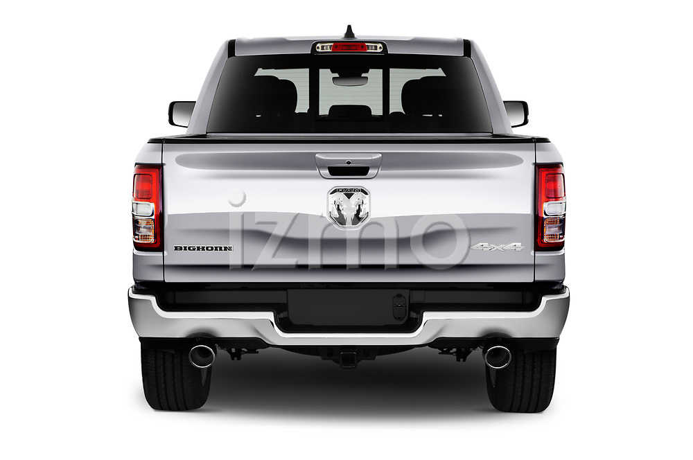 Straight rear view of 2021 Ram 1500 Big-Horn 4 Door Pick-up Rear View  stock images