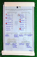 20 June 2010: The Father's Day lineup card is posted in the Washington Nationals dugout prior to a game against the Chicago White Sox at Nationals Park in Washington, DC. The White Sox swept the Nationals winning 6-3 in the last game of their 3-game interleague series. Mandatory Credit: Ed Wolfstein Photo