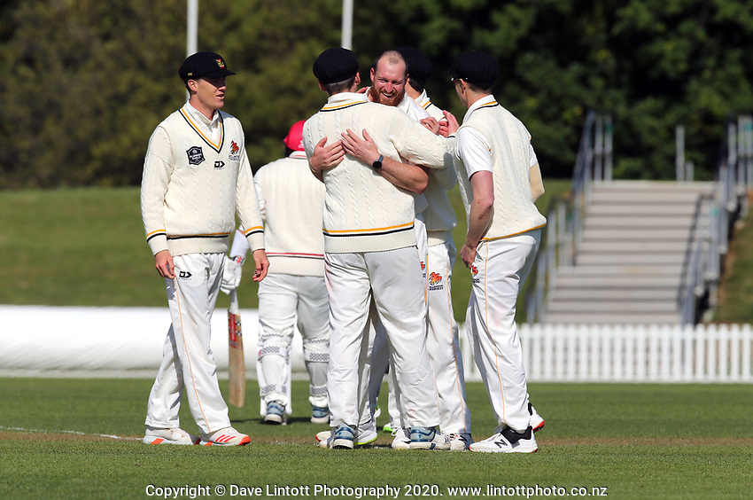 Iain McPeake celebrates a wicket during Day 1 of Round Two Plunket Shield cricket match between Canterbury and Wellington at Hagley Oval in Christchurch, New Zealand on Wednesday, 28 October 2020. Photo: Martin Hunter / lintottphoto.co.nz