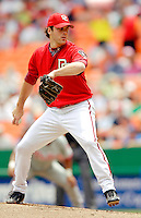 11 June 2006: Shawn Hill, pitcher for the Washington Nationals, winds up on the mound against the Philadelphia Phillies at RFK Stadium, in Washington, DC. The Nationals shut out the visiting Phillies 6-0 to take the series three games to one...Mandatory Photo Credit: Ed Wolfstein Photo..