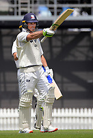 Graeme Beghin celebrates his century during day four of the Plunket Shield match between the Wellington Firebirds and Auckland Aces at the Basin Reserve in Wellington, New Zealand on Tuesday, 17 November 2020. Photo: Dave Lintott / lintottphoto.co.nz
