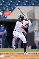 Toledo Mud Hens Kody Clemens (23) bats during a game against the St. Paul Saints on August 26, 2021 at Fifth Third Field in Toledo, Ohio.  (Mike Janes/Four Seam Images)