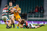 21st May 2021; Twickenham, London, England; European Rugby Challenge Cup Final, Leicester Tigers versus Montpellier; Tommy Reffell of Leicester Tigers holds on to the tackle on Alex Lozowski of Montpellier Rugby