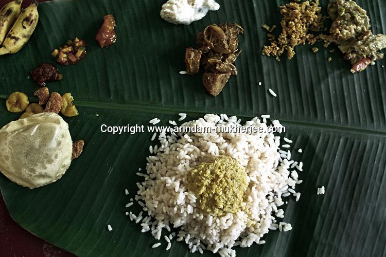 Traditional food of Onam, Trivandrum, Kerala, India.
