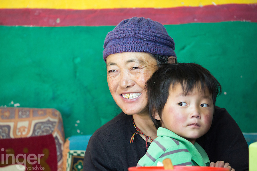 Family at the Guesthouse in Lao Tingri, Tibet