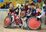 MISSISSAUGA, ON, AUGUST 12, 2015. Wheelchair Rugby - Canada vs USA in preliminary action. USA won the game 60-59 in double overtime Travis Murao<br /> Photo: Dan Galbraith/Canadian Paralympic Committee