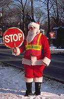 School crossing guard dressed up as Santa Claus at Christmastime.